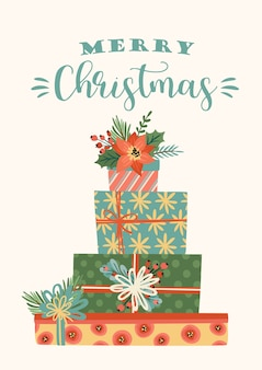 Christmas and happy new year illustration of christmas gifts. trendy retro style.