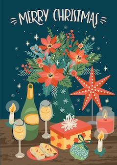 Christmas and happy new year illustration of christmas table. trendy retro style.