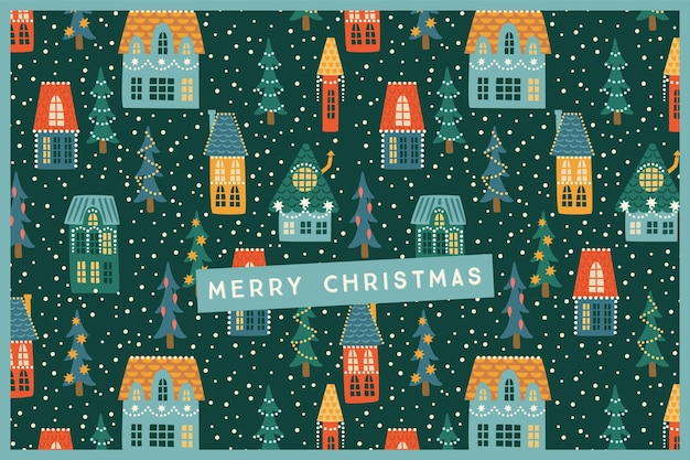 Christmas and happy new year illustration. city, houses, christmas trees, snow.