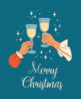 Christmas and happy new year illustration of male and female hands with champagne glasses. trendy retro style.