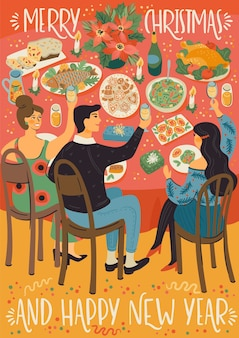 Christmas and happy new year illustration of people at christmas table. festive meal. trendy retro style.