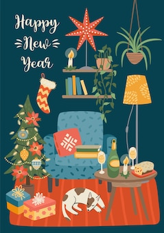 Christmas and happy new year illustration of sweet home. trendy retro style.