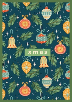 Christmas and happy new year illustration with christmas decorations.