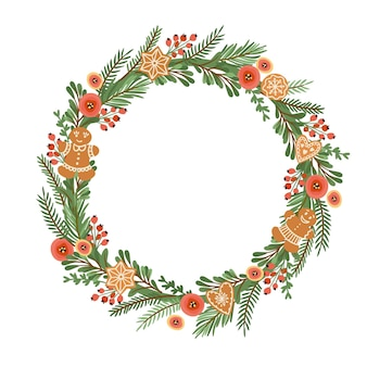 Christmas and happy new year illustration with christmas wreath. vector design template.