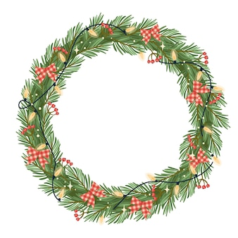 Christmas and happy new year illustration with christmas wreath.