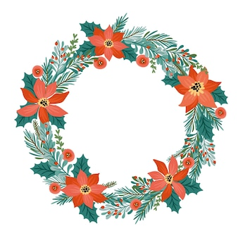 Christmas and happy new year illustration with christmas wreath. Premium Vector