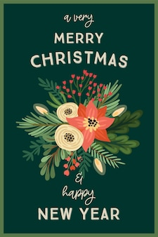 Christmas and happy new year illustration with flower arrangements.
