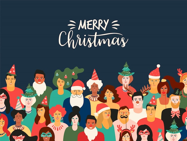 Christmas and happy new year illustration with people in carnival costumes