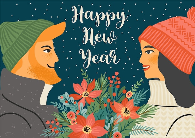 Christmas and happy new year illustration of young man and woman with christmas bouquet. trendy retro style.