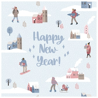 Christmas and happy new year illustration.