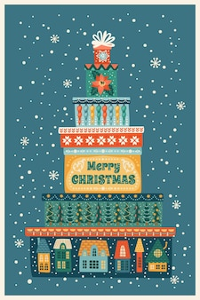 Christmas and happy new year illustration Premium Vector