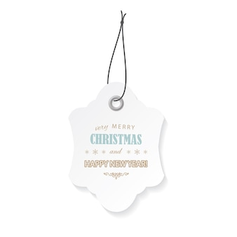 Christmas and happy new year label tag.