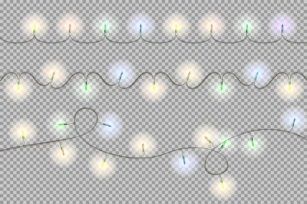 Christmas and happy new year light garland.
