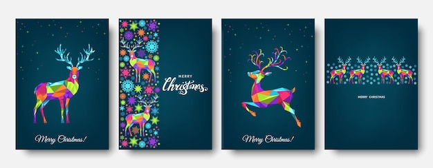 Christmas and happy new year pattern.  polygonal xmas  reindeer and  snowflakes. bright colorful  tree decoration on blue background.vector template  for cover,  greeting  card.