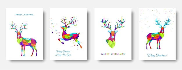 Christmas and happy new year pattern  polygonal xmas  reindeer and  snowflakes