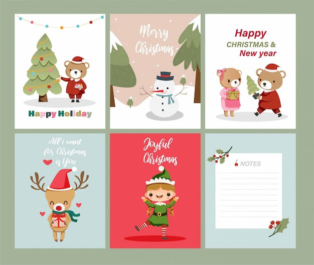 Christmas and happy new year postcard collection set