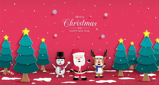 Christmas and happy new year poster