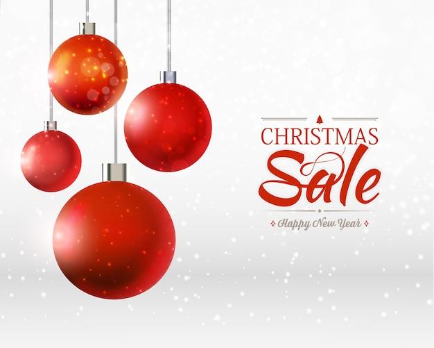 Modello di vendita di natale e felice anno nuovo con quattro ornamenti di palle, nastri sul grigio e bianco