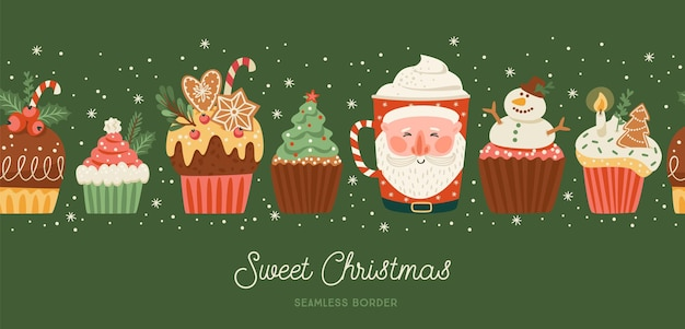 Christmas and happy new year seamless border with christmas sweet and drink. trendy retro style. vector design template.