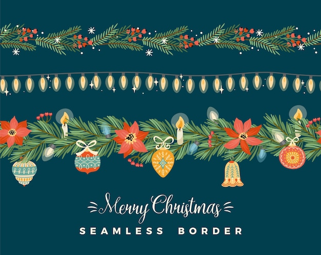 Christmas and happy new year seamless borders.