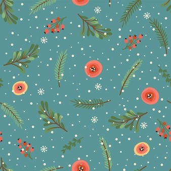 Christmas and happy new year seamless pattern. christmas tree, flowers, berries. new year symbols.trendy retro style. vector design template.