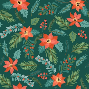 Christmas and happy new year seamless pattern. trendy retro style.