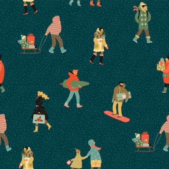 Christmas and happy new year seamless pattern whit people.
