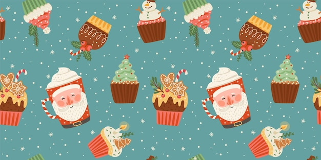 Christmas and happy new year seamless pattern with christmas sweet and drink. trendy retro style. vector design template.