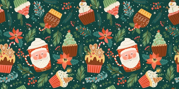 Christmas and happy new year seamless pattern with christmas sweet and drink. vector design template.