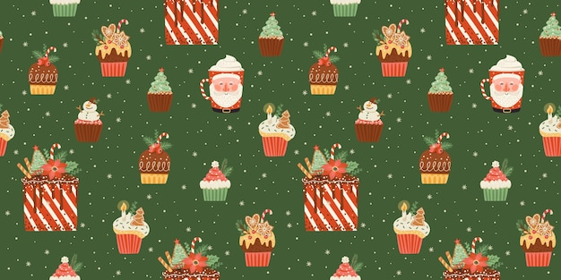 Christmas and happy new year seamless pattern with christmas sweets and drink. vector design template.