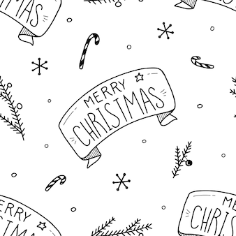 Christmas and happy new year seamless pattern with christmas toys and gifts. trendy retro style.