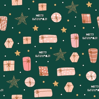 Christmas and happy new year seamless pattern with cute gifts and stars. vector design template.
