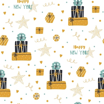 Christmas and happy new year seamless pattern with cute gifts.