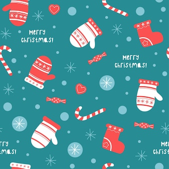 Christmas and happy new year seamless pattern with cute mittens, socks.