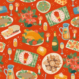 Christmas and happy new year seamless pattern with festive meal. trendy retro style.