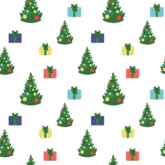 Christmas and happy new year seamless pattern with tree and gift boxes