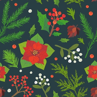 Christmas and happy new year seamless pattern.