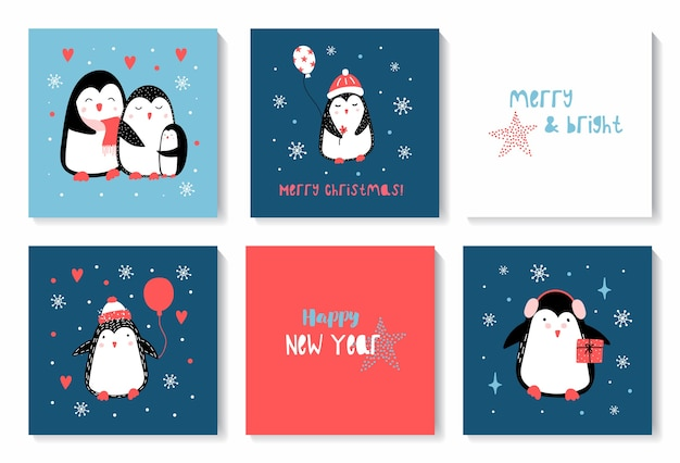 Christmas and happy new year set of cards with cute christmas penguins.