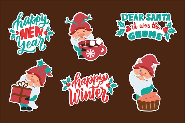 The christmas and happy new year set of stickers with winter gnomes collection cartoon characters