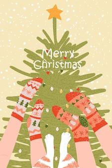 クリスマス新年あけましておめでとうございます靴下と足猫カードポスター漫画のクリスマスツリーと脚のテンプレート