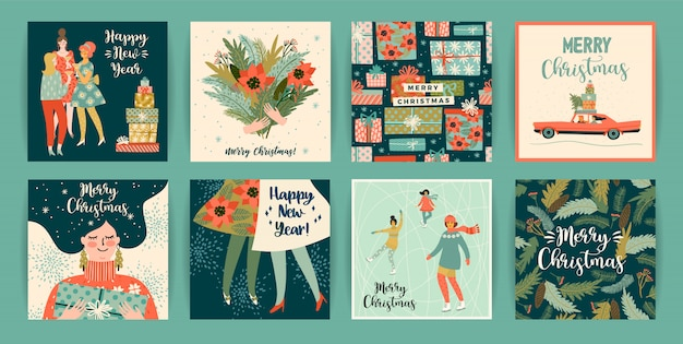Christmas and happy new year templates.