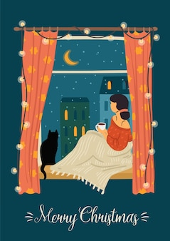 Christmas and happy new year. trendy retro style. woman looking out the window.