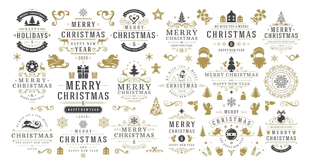 Christmas and happy new year wishes labels and badges set  illustration.