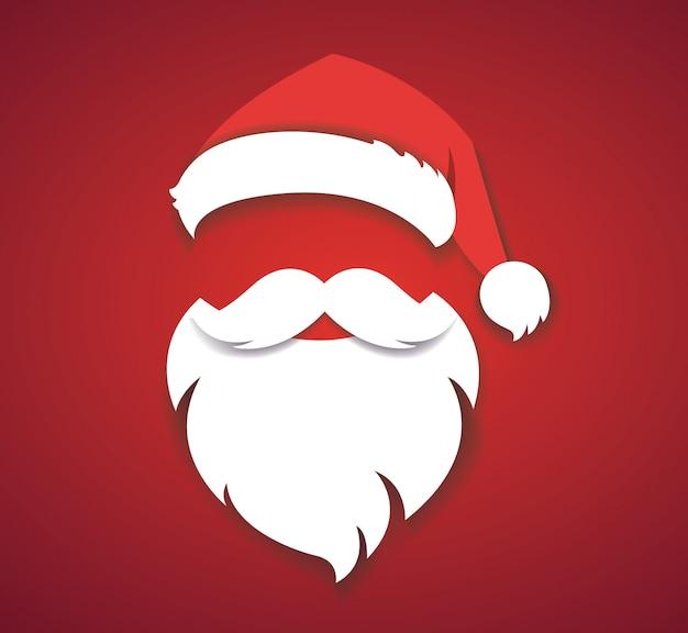 Рождественская шляпа и санта белая борода вектор