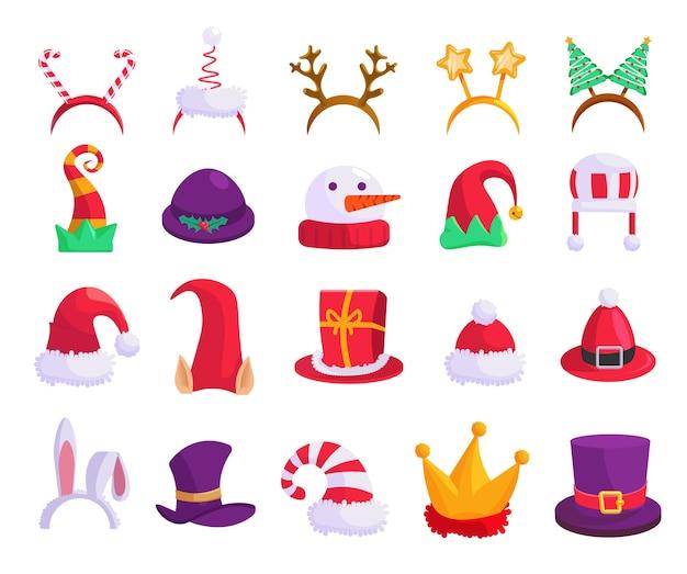 クリスマス帽子。カーニバルキャップ、お祝いマスク分離アイコンセットのイラスト。