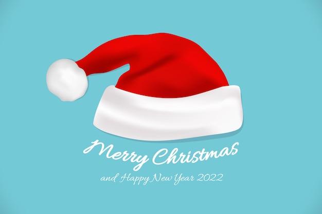 あなたのデザインのためのクリスマスの帽子。テキスト付きの新年の帽子。メリークリスマスと新年あけましておめでとうございます2021年のレタリングとベクトルイラスト。クリスマスのタイポグラフィ。 eps 10