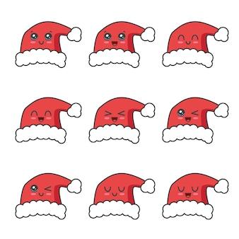 크리스마스 모자 컬렉션 흰색 절연