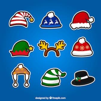 Рождественские шапки наклейки