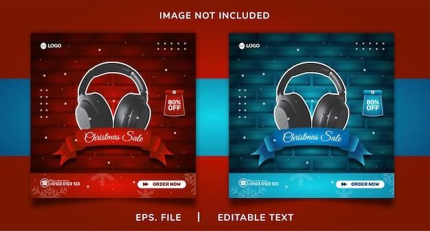 크리스마스 헤드폰 판매 소셜 미디어 프로모션 및 인스 타 그램 배너 게시물 템플릿 디자인