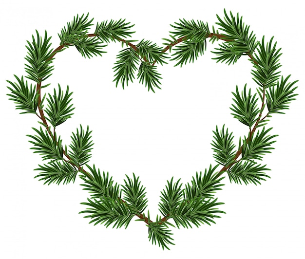 Christmas heart frame spruce branches. template for christmas card